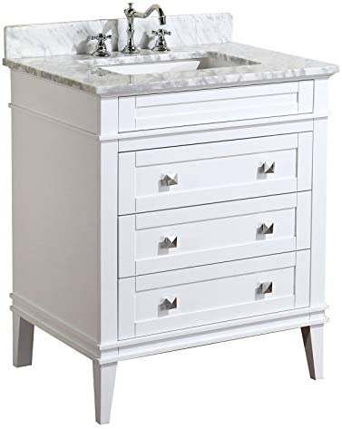 Eleanor 30-inch Bathroom Vanity Carrara White Includes White Cabinet with Authentic Italian Carrara Marble Countertop and White Ceramic Sink