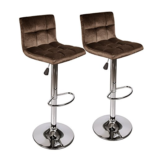 - PULUOMIS Square Back Modern Hydraulic Adjustable Swivel Bar Stools, 360 Degree Rotation, Set of 2, Dark Brown