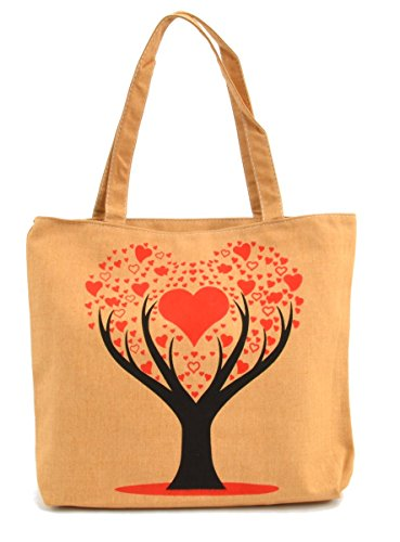 LSW Tree of Hearts Canvas Tote Bag (Beige) - Heart Tote Bag