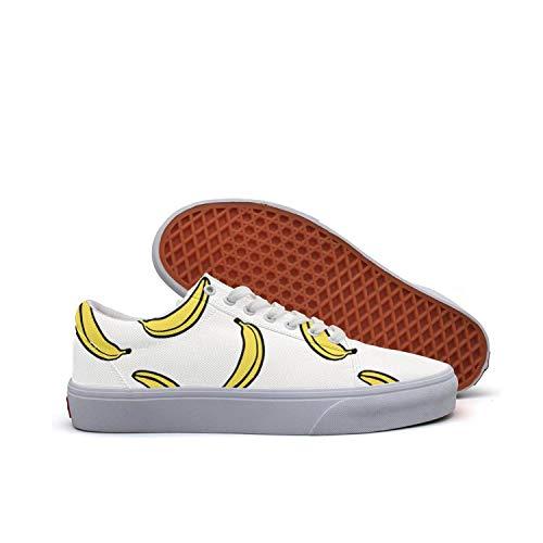 SERXO Banana Bananas White Yellow Adult Skateboard Shoes Canvas Sneakers Print