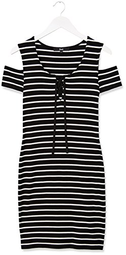 FIND Vestido de Rayas con Hombros al Aire para Mujer Multicolor (Black/white)