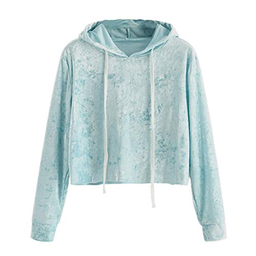 Mlide Velvet Hooded Drawstring Short Pullover,Womens Long Sleeve Sweatshirt Jumper Tops Blouse(Sky blue,Medium) ()
