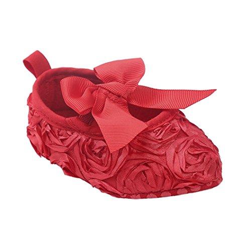 Tefamore princesa zapatos de bebé inferiores suaves resbaladiza moda primer paso del arco caliente del invierno Rojo