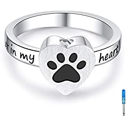 925 Sterling Silver Heart Angel Wings Cremation Urn Ring Hold Loved Ones Ashes Finger Rings Memorial No Longer by My Side but Forever in My Heart Jewelry #7#8#9#10 (paw Print urn Rings, 7)