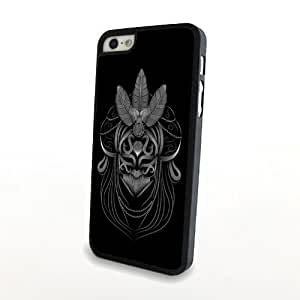 Indian Aborigines Mask Hard Case Plastic Cover for iPhone 5/5s Matte Case Shell Carrying Protector - Black and Simple