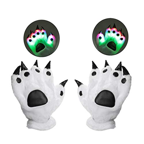 Luwint LED Colorful Finger Flashing Bear Paw - Cool Light Up Glow Gloves for Party Rave Show Halloween Costume