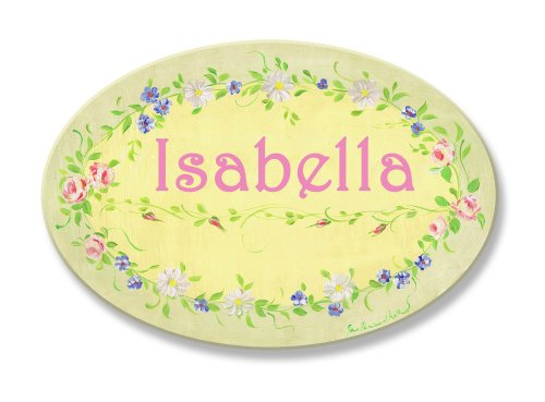 The Kids Room by Stupell Isabella, Yellow with Green Floral Border Personalized Oval Wall - Border Oval Vintage