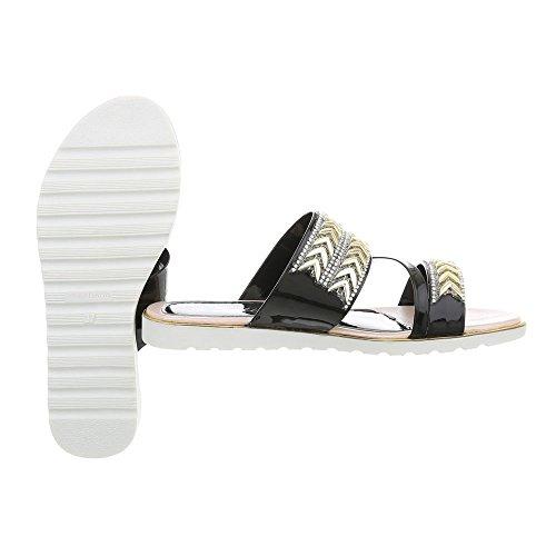 Ital-Design Pantoletten Damenschuhe Sandalen & Sandaletten Schwarz AL888