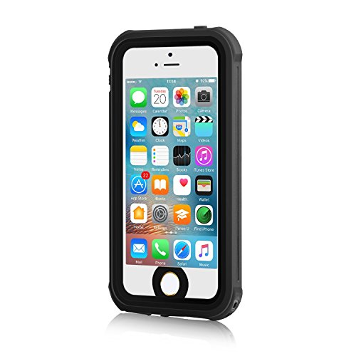 iPhone 5S Waterproof Case, Meritcase IP68 iPhone SE/5S/5 Waterproof Shockproof Dirtproof Snowproof Screen Protector Cover for Snow Skiing Swimming (Black)