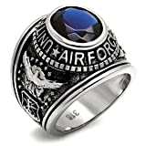 Men's Stainless Steel United States Air Force Blue Oval Stone Ring,Size:8