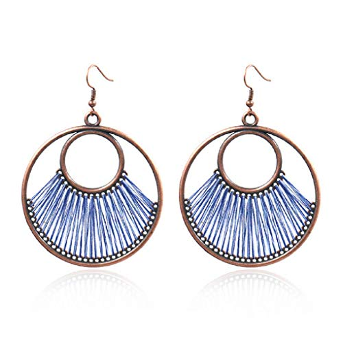 (COLORFUL BLING Original Hand-woven Earrings Fashionable Large Circle Earrings Exaggerated Pendants-Red)