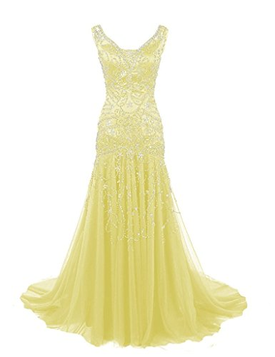 H.S.D Womens Mermaid V Neck Beaded Long Prom Dress Evening Gowns Yellow