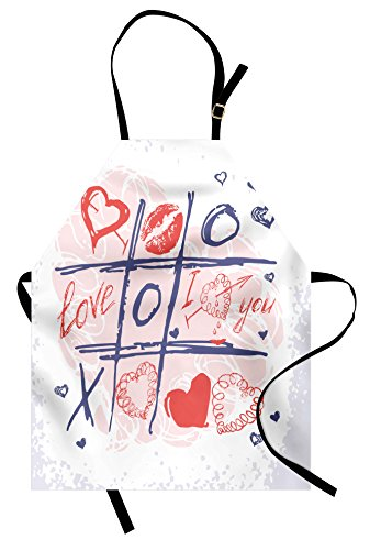 Ambesonne Valentines Day Apron, XOXO Game with Lips Sketchy Circles Hearts Romantic Love Theme, Unisex Kitchen Bib Apron with Adjustable Neck for Cooking Baking Gardening, Blue Red and White ()