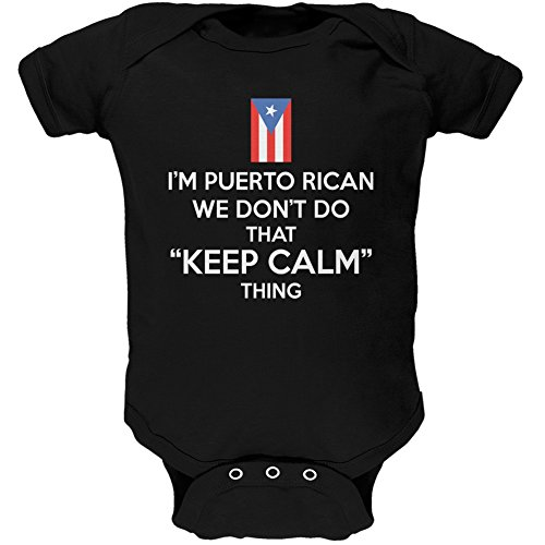 Old Glory Don't Do Calm - Puerto Rican Black Soft Baby One Piece - 0-3 Months