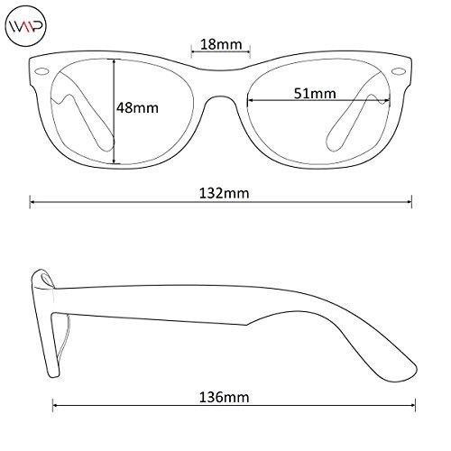 WearMe Pro - Reflective Lens Round Trendy Sunglasses (Gold Frame/Black Lens, 51) by WearMe Pro (Image #7)