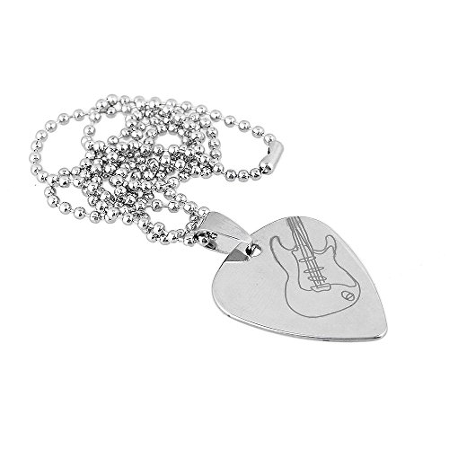 (lovermusic Silver 500mm Guitar Pattern Guitar Pick Pendant Necklace for Guitar Part)