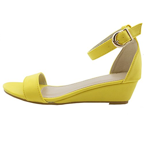 Women Summer Open Toe Ankle Strap Wedges Flat Sandals Casual Shoes (US 6.5, yellow) (Ankle Wedge Toe Strap)