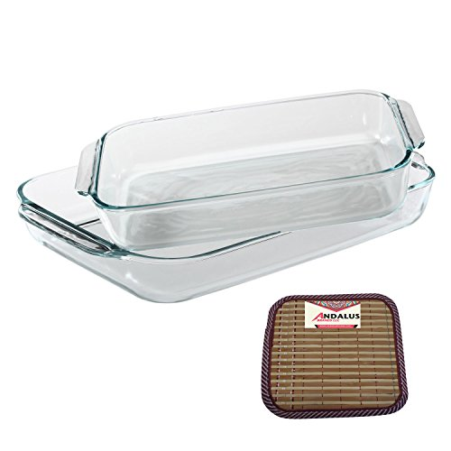 Pyrex Basics 2 Piece Value Plus Pack with 2 & 3 Quart Clear Oblong Glass Baking Dishes - Includes Bamboo Hot Pad by Andalus