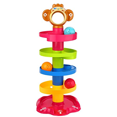 Peradix Ball Drop and Roll Swirling Tower Ramp for Baby and Toddler Development Educational Toys, Stack, Drop and Go Ball Ramp Toy Set includes 3 Spinning Activity Rattle Balls with Bells