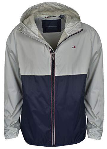 - Tommy Hilfiger- Colorblocked Logo Rain Jacket Ice/Navy Size Large