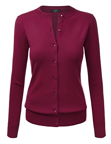 WSK781 Womens Keep It Classic Round Cardigan M Burgundy