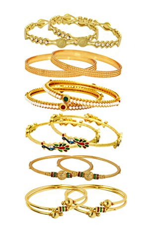 YouBella Ethnic Bollywood Gold Plated Traditional Indian Combo of 6 Bangles Set Jewellery for Women and Girls (6)