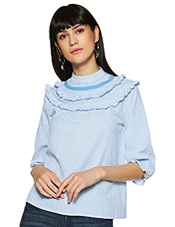 Amazon Brand - Symbol Women's Striped Regular Fit 3/4 Sleeve Cotton Blouse