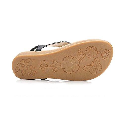 Eu38 uk5 Flowers Boho Flat cn38 Sandals A Shoes B color Summer Holiday Amazing Roman 5 Rhinestone Beach Size q6wOpIw