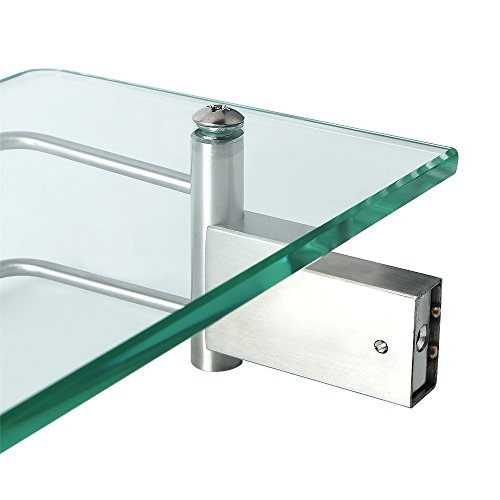 Alise GC1000 SUS 304 Stainless Steel Bathroom Glass Shelf Wall Mount,Brushed Finish by Alise (Image #4)