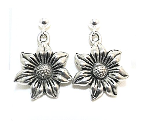 Pewter Sunflower Charms on Hypoallergenic Ball Post Stud ()