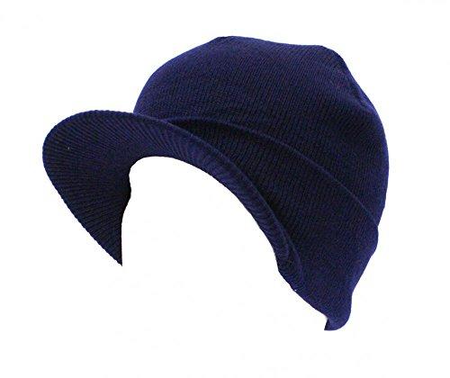 Navy_(US Seller)Acrlyic Beanie Plain Visor Hat Cap Women - Optical Frame Bags Sample