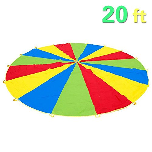Everfunny Parachute for Kids, Children 210T Rainbow Play Parachute 20ft with 16 Handles for Kids Cooperation Group Play]()