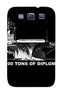 Tpu Yellowleaf Shockproof Scratcheproof Diplomacy Black Bw Aircraft Carrier Military Ships Watercrafts Text Quotes Hard Case Cover For Galaxy S3 For Lovers