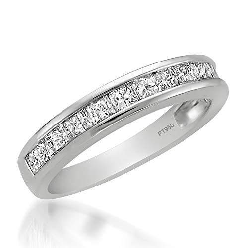 Platinum Princess-cut Diamond Bridal Wedding Band Ring (1 cttw, H-I, I1-I2), Size 8