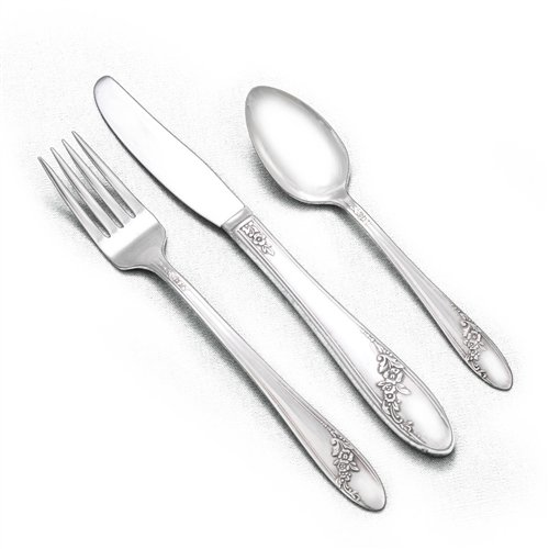- Queen Bess II by Tudor Plate, Silverplate Youth Fork, Knife & Spoon