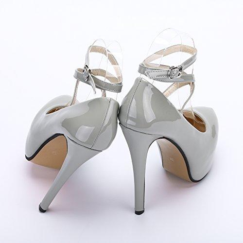 Lacets Sexy beige Soiree Aiguille Femme Talon Club Cheville Bride Escarpins Sole Chaussures Pu Grey Epais Plateforme Ochenta Fermeture 6vxIq16