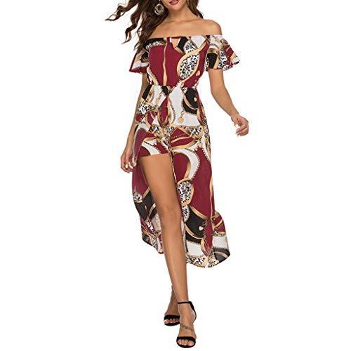 Women Cocktail Dresses Bohemian Off-Shoulder Floral Summer Party