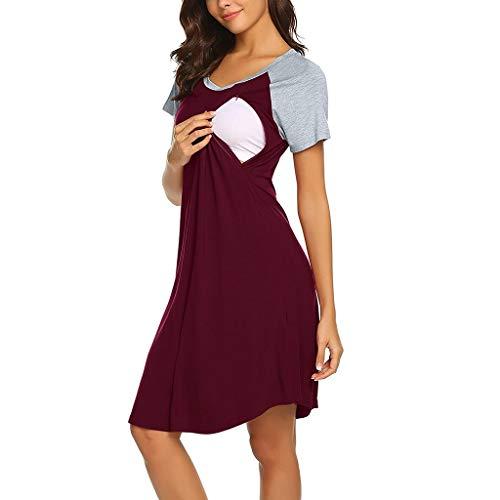 LEXUPA Women Maternity Dress Nursing Baby Nightgown Breastfeeding Nightshirt Sleepwear WineRed