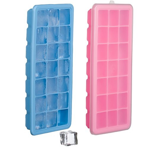Set of 2 Silicone Ice Cube Trays with Lid Cover – Soft Bottom for One Press Easy Release – 21 Square Shaped Mold Holes – BPA & Odor Free Flexible Rubber - Completely Stackable To Save Freezer Space (1 Tray Cube Ice)