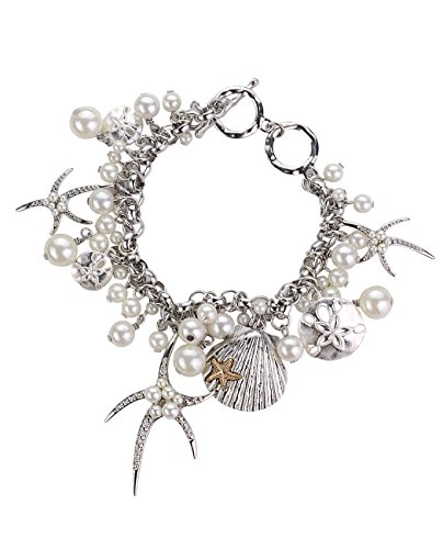 Women's Beach Life Starfish Seashell Sand Dollar Multi Size Simulated Pearl Charm Toggle Bracelet, - Life Beach