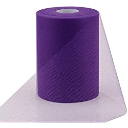 "Violet Purple - 6"" X 100 Yards (300Ft) Tutu Tulle Fabric Roll For Skirt Petticoat Ribbon Wedding Decoration Bow Gift"