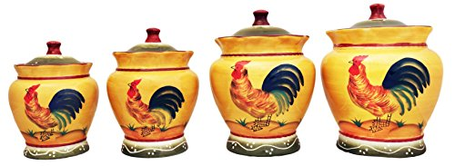 Tuscan Sunshine County Rooster Hand Painted Canisters, Set of 4, 89301 by (Apple Canister Sets)