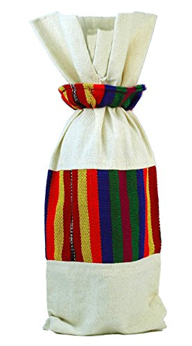 Handmade Guatemalan Wine Gift Bag - Subtle Rainbow