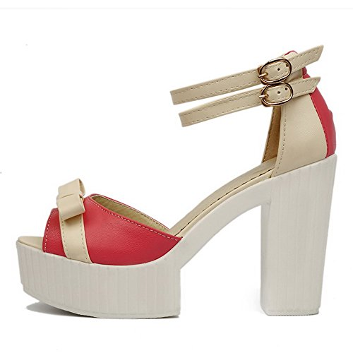 AmoonyFashion Womens Soft Material Peep Toe High Heels Buckle Assorted Color Sandals Red GNtYcCQAe