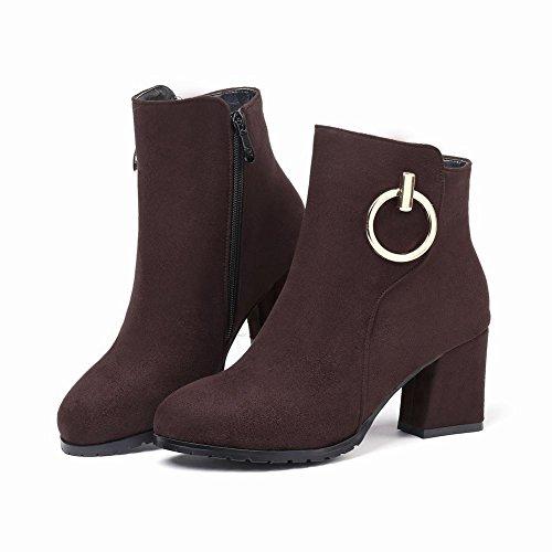 Women's Zip Solid Martin Boots Charm Heel Brown Short High Color Carolbar HPZYdwqq