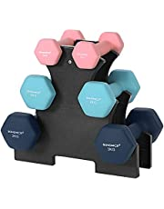 SONGMICS Korte halterset, hexagon, met halterstandaard, 2 x 1 kg, 2 x 2 kg, 2 x 3 kg, matte afwerking, neopreen coating, krachttraining, thuis, fitnessstudio, roze, aquamarijn en blauw SYL612MK