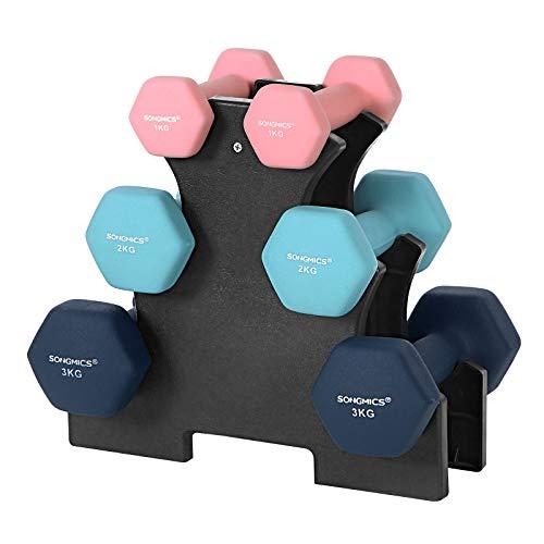 SONGMICS Juego de Mancuernas Hexagonales con Soporte - 2 x 1 kg, 2 x 2 kg, 2 x 3 kg, Neopreno con Acabado Mate, Pesas para Gimnasio en Casa, Rosado, Agua y Azul SYL612MK a buen precio