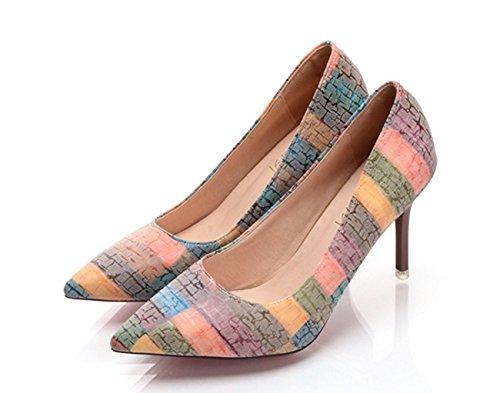 comodidad de verano primavera SHINIK amp; para botas media mujer gris boda calf naranja tacones noche puntiagudos naranja Zapatos novedad azul PU fiesta WY4wq5fgq