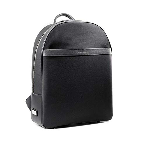 (Maverick & Co Saffiano Leather Backpack, Waterproof Nylon Fabric, Men Business Travel Bag for 15