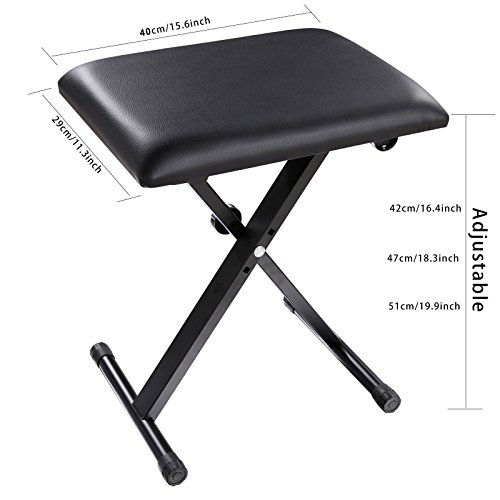 Adjustable Piano Keyboard Bench Leather Padded Seat Folding Stool Chair with Rubber Feet